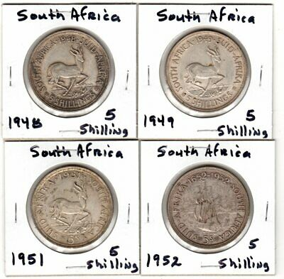 AU75 • Buy 4 Different South Africa  5 Shilling Silver Crowns 1948 1949 1951 1952