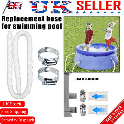 £6.89 • Buy 1 Set Or 2 Set 1.5M Swimming Pool Hose & 2 Clamps For Pump/Filter/Heater Pipe UK