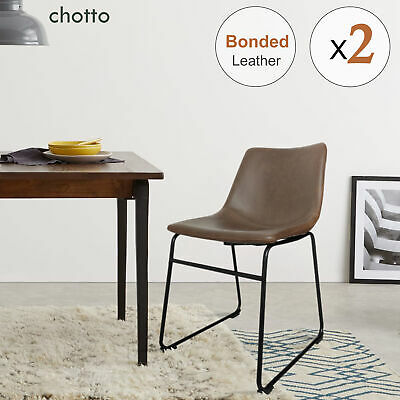 AU135.95 • Buy Contoured Backrest Dining Chairs Bonded Leather Seat Metal Legs Vintage Chair 2x