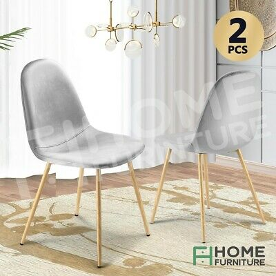 AU79.50 • Buy Dining Chairs Soft Fabric Velvet Chair Seat Cafe Office Modern Metal Leg Grey X2