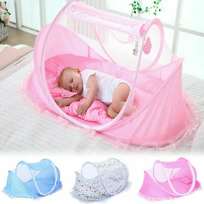 £14.27 • Buy Foldable Infant Baby Canopy Bed Mosquito Net Holiday Travel Tent Crib Pillow UK.