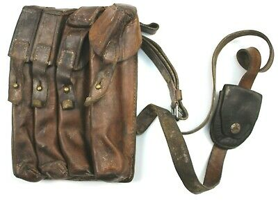 £18.99 • Buy VINTAGE SERBIAN ARMY LEATHER AMMO MAGAZINE POUCH / SHOULDER BAG (no3)