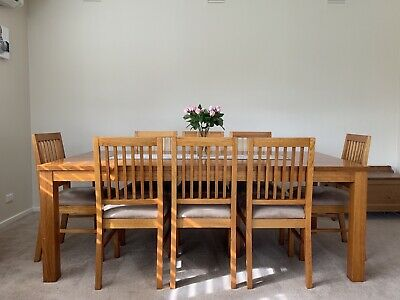 AU330 • Buy 9 Piece Dining Set Solid Timber 8 Chairs - Must Sell, Offers Invited