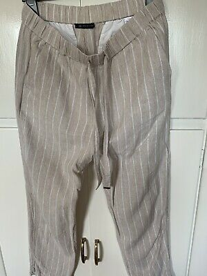 £5.99 • Buy Marks And Spencer Striped Linen Trousers 12