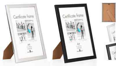 £3.29 • Buy A4 Certificate Photo Picture Frames BLACK Or SILVER INC STANDS + Hook