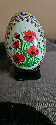 £10 • Buy Beautiful Unique Hand Painted Blown Egg With Poppies.