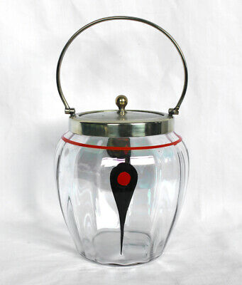 £11.95 • Buy VINTAGE GLASS BISCUIT BARREL/JAR With Silver Plated Lid And Handle