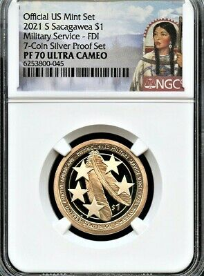 $39.95 • Buy 2021 S Sacagawea $1 Military FDI From 7-Coin Silver Set NGC PF70 UC Portrait