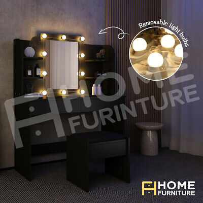 AU209.50 • Buy Dressing Table Mirror Stool Jewellery Cabinet Makeup Drawer With LED Bulbs Black