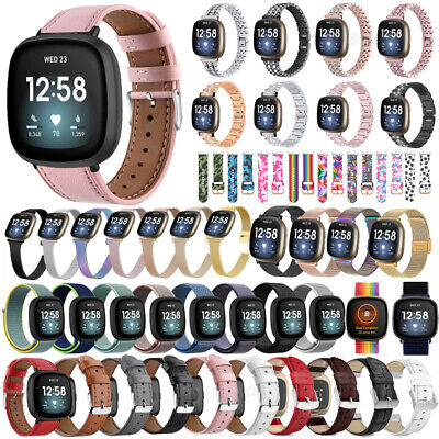 $ CDN14.16 • Buy For Fitbit Versa 3 / Sense Leather Wristband Replacement Watch Band Wrist Strap