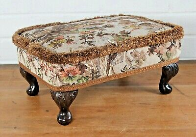 £27.99 • Buy Vintage Mid Century Sherborne Low Footstool Pouffe Floral Tapestry Fringed Edge