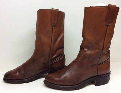 $ CDN26.68 • Buy Vtg Mens Unbranded Cowboy Work Leather Brown Boots Size ?