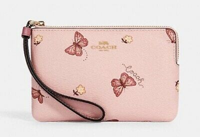 $ CDN42.45 • Buy Coach Corner Zip Wristlet With Butterfly Print Wallet Clutch Pink Leather NWT