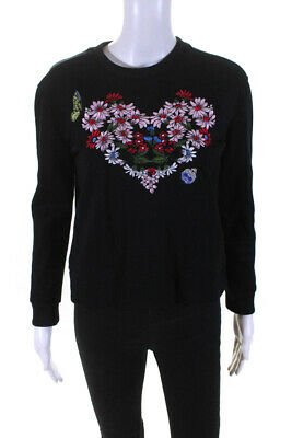AU42.47 • Buy Maje Womens Floral Embroidered Long Sleeve Crewneck Black Pink Size 2
