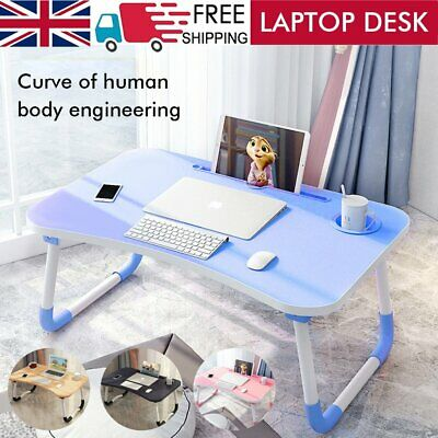 £9.99 • Buy Folding Laptop Bed Tray Table Home Portable Lap Desk Notebook Breakfast Cup Slot