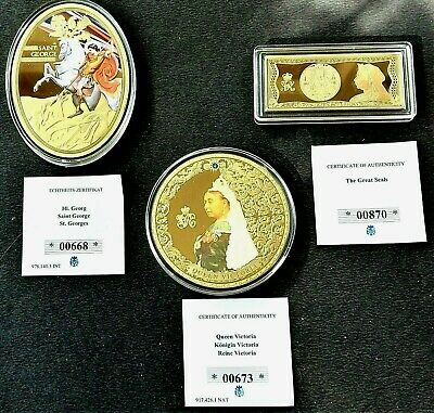 £32.50 • Buy  Queen Victoria & St. George - 3 Beautiful 24ct Gold Plated Commemoratives