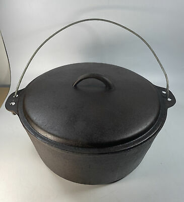 """$ CDN212.55 • Buy Vintage Unmarked #10 12"""" Cast Iron Dutch Oven Pot With Tapered Lid 8 Qt"""