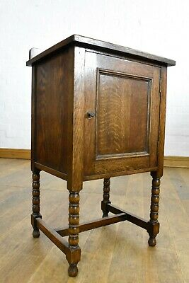 AU226.68 • Buy Antique Vintage Bobbin Turned Oak Bedside Cabinet / Pot Cupboard
