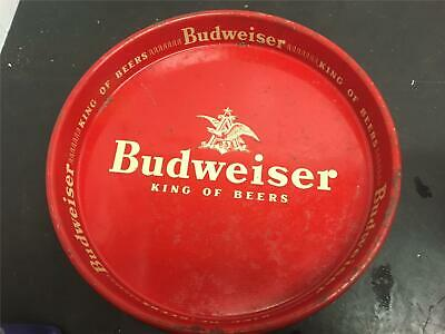 $ CDN36.38 • Buy VINTAGE BUDWEISER KING OF BEERS 13 Round TIN METAL Red SERVING Tray Mancave Sign