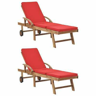 AU565.99 • Buy VidaXL 2x Solid Teak Wood Sun Loungers With Cushions Red Outdoor Furniture