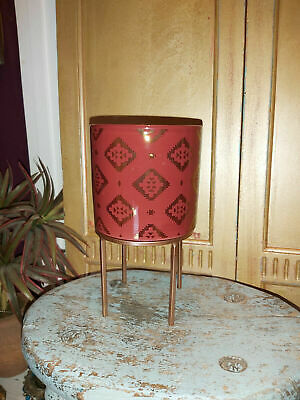 £17.99 • Buy MOROCCAN INSPIRED CERAMIC PLANTER ON A GOLD METAL STAND 21.5cm HIGH