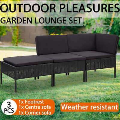 AU254.99 • Buy VidaXL 3 Piece Garden Lounge Set With Cushions Poly Rattan Black Furniture