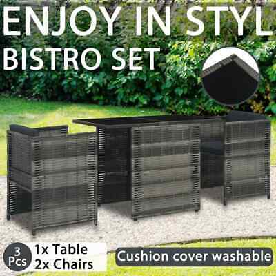 AU271.99 • Buy VidaXL 3 Piece Bistro Set With Cushions Poly Rattan Grey Outdoor Furniture