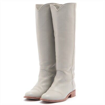 £363.20 • Buy Chanel COCO Mark Leather Long Boots 37 Ladies Gray