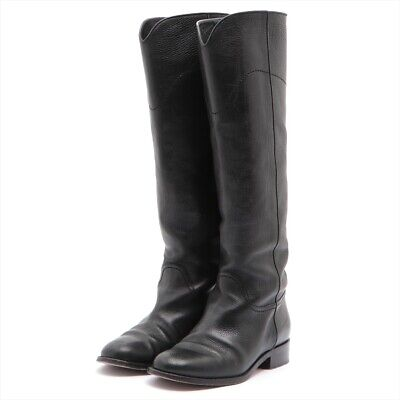 £363.20 • Buy Chanel COCO Mark Leather Long Boots 37 Ladies Black