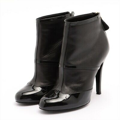 £209.56 • Buy Chanel COCO Mark Leather Short Boots 36C Ladies Black