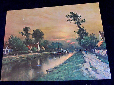 £10.64 • Buy Sail Boat, Canal, Cottages, Lady, Salesman Sample Large Print 1940's