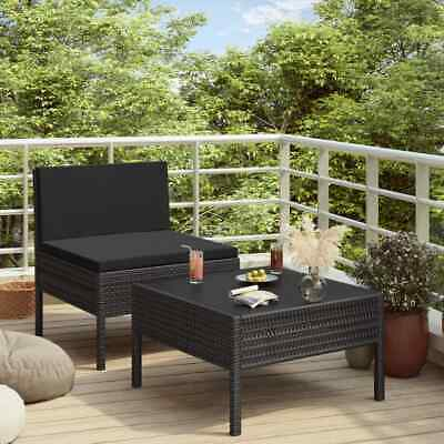 AU137.99 • Buy VidaXL Garden Lounge Set With Cushions 2 Piece Poly Rattan Black Furniture