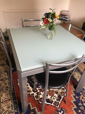 £100 • Buy Calligaris Italian Extendable Glass Dining Table And 4 Chairs
