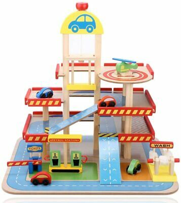 £33.99 • Buy New Big Wooden Car Garage Parking Kids Truck Toy Role Play Educational Gift