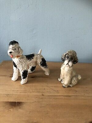 £20 • Buy 2x Adorable Poodles Ornaments/Dog Collectable Figurines /Parti Poodle/1 Repaired