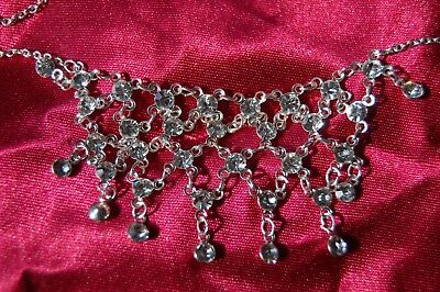 £28.99 • Buy New Silver Diamante Net Necklace On Silver Alloy Chain Costume Jewellery