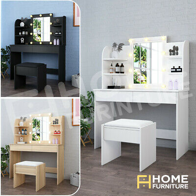 AU229.50 • Buy Dressing Table Mirror Stool Set Jewellery Cabinet Makeup Drawer With LED Bulbs