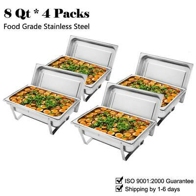 £48.99 • Buy 4 Pcs Chafing Dishes Set 304 Stainless Steel Free Shipping Food Warmers 9L/8Qt