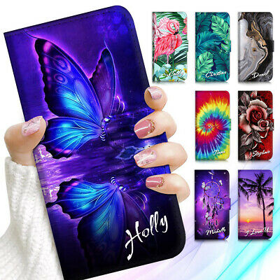 AU13.99 • Buy Personalised Name Wallet Case Cover For Samsung S21 S20 S10 S9 S8 Note 20 Plus