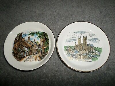 £10 • Buy 2 X COLLECTORS ITEM -OLD PLATES - LINCOLN CATHEDRAL & CHURCH ST STOW ON THE WOLD