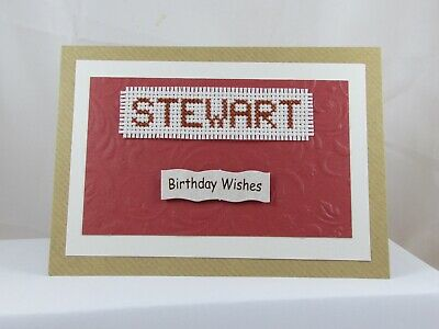 £2.50 • Buy Birthday Card - Unique Handmade Cross Stitch - Name Stewart