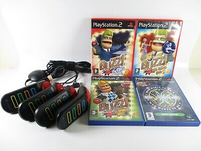£19.99 • Buy PS2 Buzz Bundle Wired Buzzers With 4 Games Trivia Quiz PlayStation 2