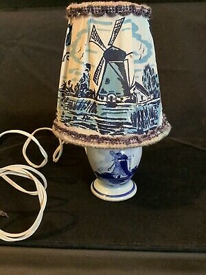 £7.50 • Buy Vintage Ceramic Delft Windmill Scene Night Light Lamp And Shade - Late 1940's