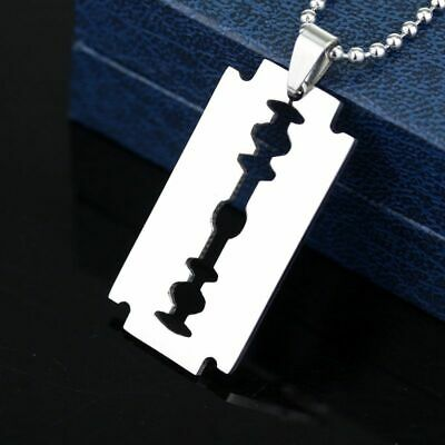 £3.52 • Buy Stainless Steel Razor Blade Dog Tag Pendant Chain Necklace Men Fashion Jewelry
