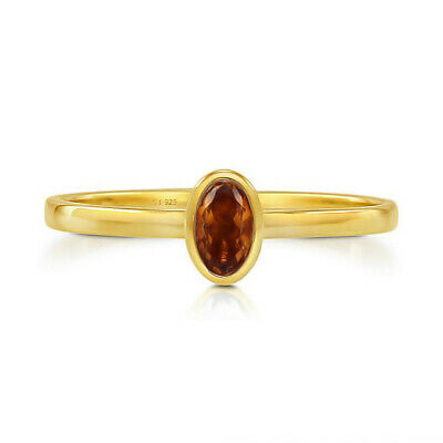 £9.22 • Buy Solid 925 Sterling Silver Oval Madeira Citrine Gemstone Stackable Ring US-7