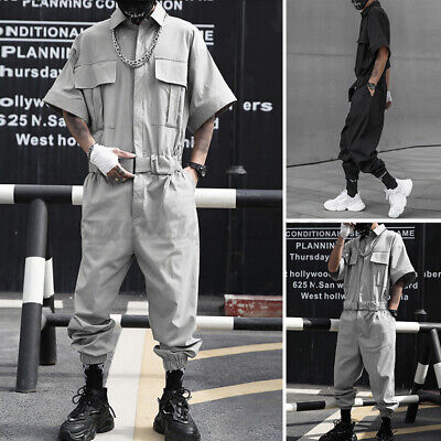 $41.38 • Buy Mens Short Sleeve Fashion Cargo Overalls Casual Loose Work Wear Jumpsuits Pants