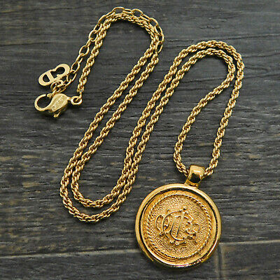 £41.06 • Buy Christian Dior Gold Plated Logo Coin Chain Necklace Pendant #196f Rise-on