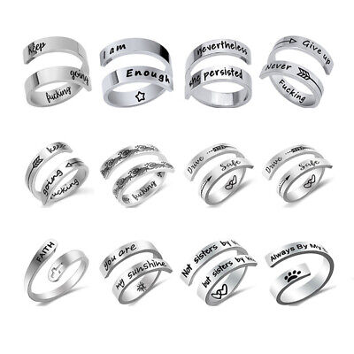 £3.68 • Buy Womens Wedding Engagement Rings Inspirational Message Fashion Gift Double Ring