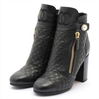 £620.20 • Buy Chanel COCO Mark Leather Short Boots 36 1/2 Ladies Black