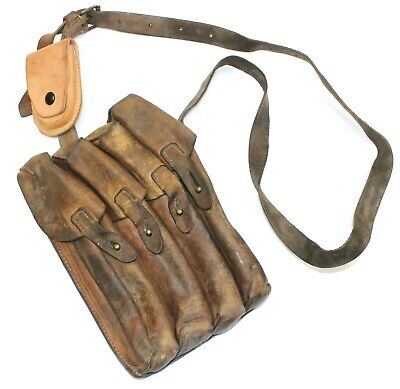 £18.99 • Buy VINTAGE SERBIAN ARMY LEATHER AMMO MAGAZINE POUCH / SHOULDER BAG (no9)